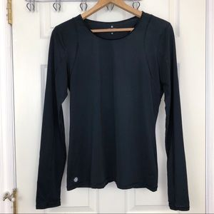 Athleta Rally Up Crew Black Workout Long sleeve